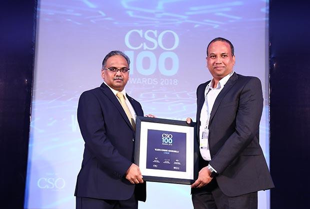 Ravi Kumar Vaddeboina, DGM-IT at Cyient receives the CSO100 Award for 2018.