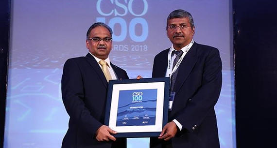 Vishwas Pitre, Head- IT and CISO at Zensar Technologies receives the CSO100 Award for 2018