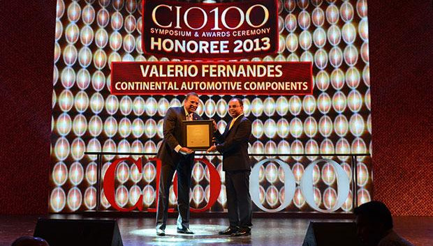 The Astute 100: Valerio Fernandes, GM-IT, Continental Automotive Components receives the CIO100 Award for 2013.