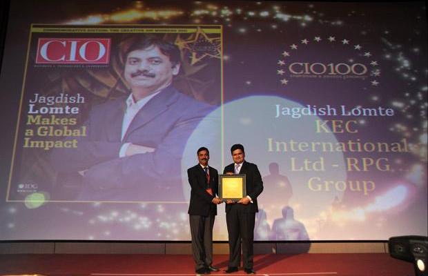 The Creative 100: Jagdish Lomte, Head-IT at KEC International-RPG Group receives the CIO100 Award for 2011