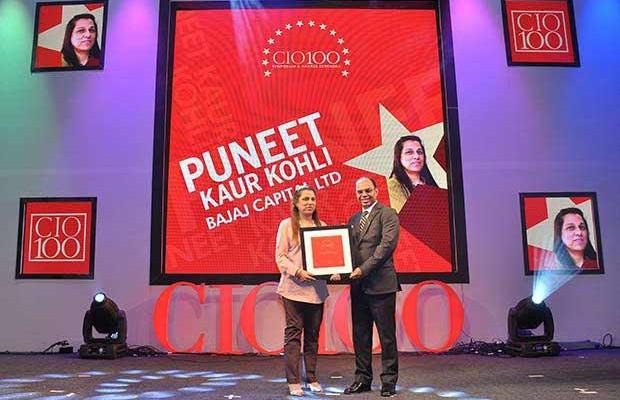 The Transformative 100: Puneet Kaur Kohli, Group Executive VP-IT Operations and Technologies of Bajaj Capital receives the CIO100 Award for 2016