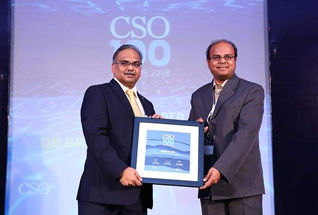 Vinod Prajapati, Associate Director - IT Quality & Compliance at Dr. Reddy's Laboratories receives the CSO100 Award for 2018 on behalf of Subhajit Deb