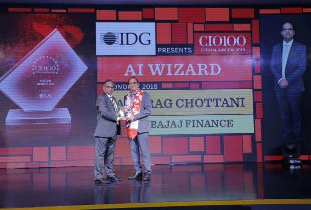 AI Wizard: Anurag Chottani, Chief– Information Technology of Bajaj Finance, receives the CIO100 special award for 2018