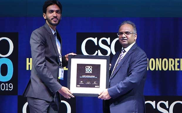 Aasif Ansari, manager infoSec at B&K Securities India receives the CSO100 Award for 2019