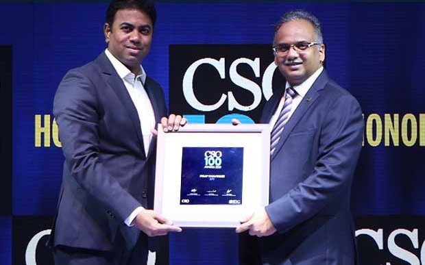 Nitin Nimbalkar, CISO at Fullerton India Credit Company, receives the CSO100 Award for 2019