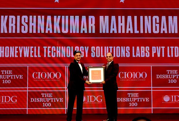 The Disruptive 100: Krishnakumar Mahalingam, Tech CoE Leader and Head of Enterprise applications Development, Honeywell Technology Solutions Labs, Bangalore receives the CIO100 Award for 2019