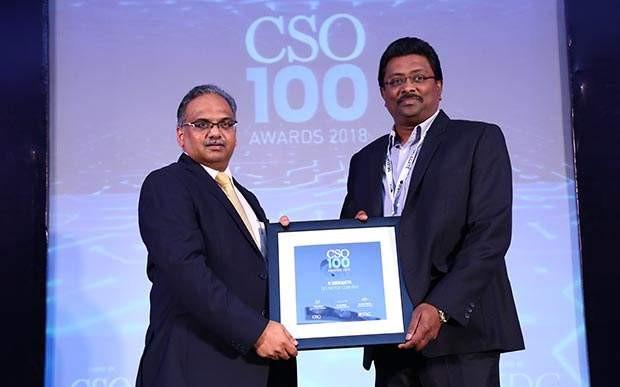 S Srikanth, CISO at TVS Motor Company receives CSO100 Award for 2018