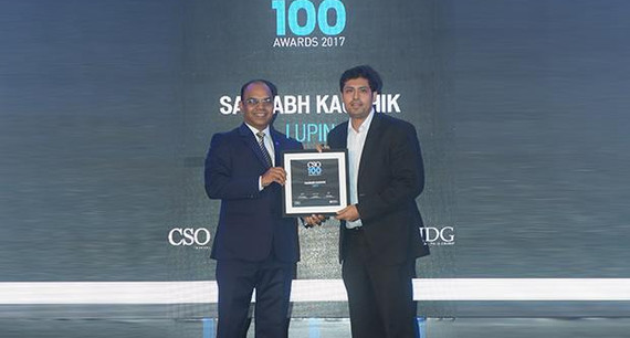 Saurabh Kaushik, Head-Cyber Security, Lupin receives the CSO100 Award for 2017.