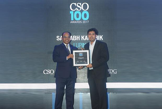 Saurabh Kaushik, Head-Cyber Security, Lupin receives the CSO100 Award for 2017.