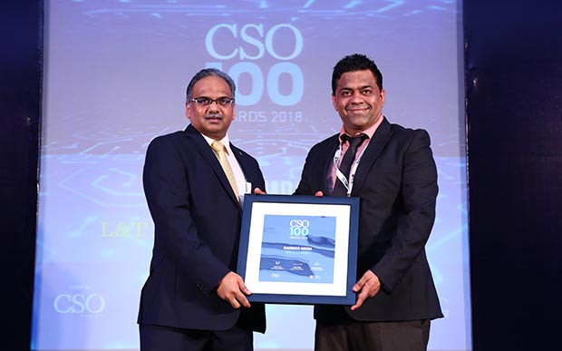 Ravinder Arora, Head-Information Security at Iris Software receives the CSO100 Award for 2018