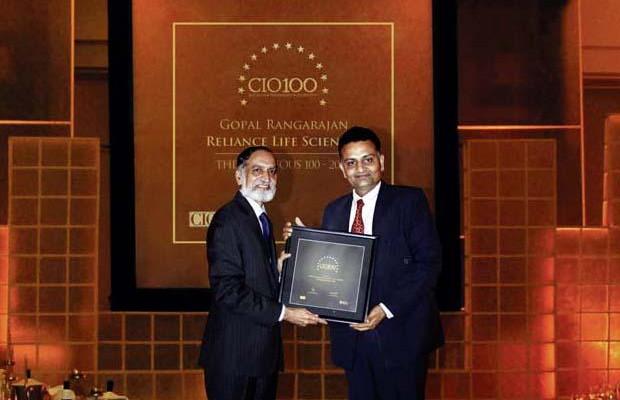 The Ingenious 100: Gopal Rangaraj, Senior VP - IT, Reliance Life Sciences receives the CIO100 Award for 2009.