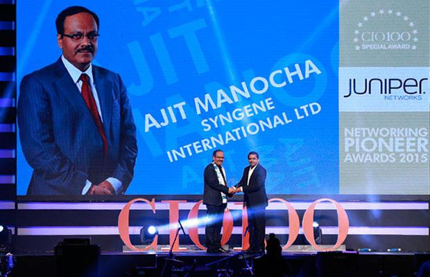 Networking Pioneer: Ajit Manocha, Associate VP and CIO at Syngene International receives the CIO100 Special Award for 2015 from Sajan Paul, CTO, Juniper Networks-India and SAARC