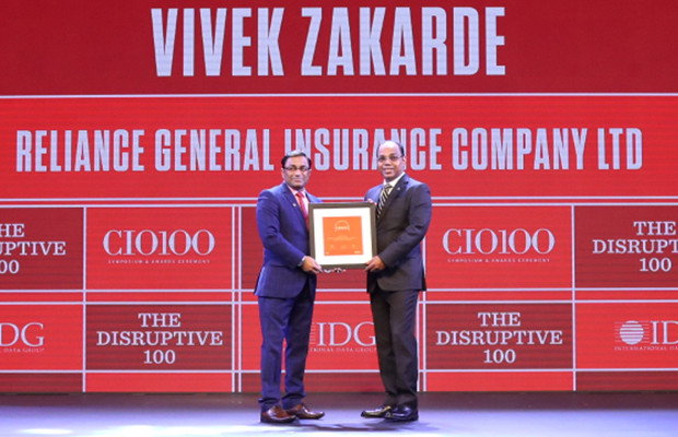 The Disruptive 100: Vivek Zakarde, Head of Business Intelligence, Data-ware & Analytics, Reliance General Insurance Company receives the CIO100 Award for 2019