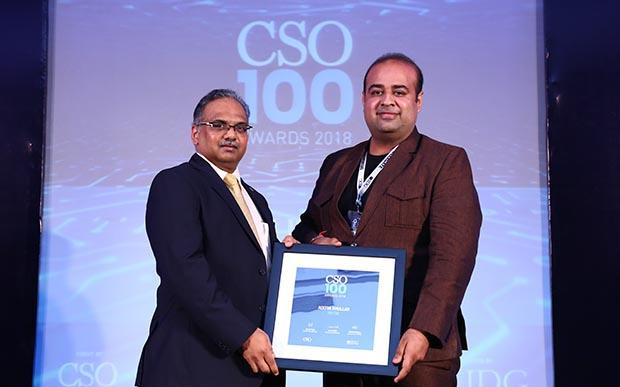 Aditya Khullar, Technical Lead - Security at Paytm receives the CSO100 Award for 2018