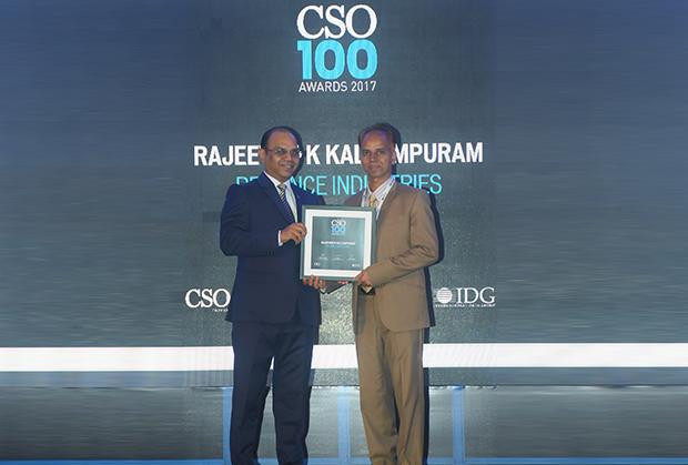 Rajeevan Kallumpuram, Assistant VP - Information Security , Reliance Industries receives the CSO100 Award for 2017.