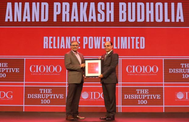 The Disruptive 100: Anand Budholia, Senior VP and CIO, Reliance Power receives the CIO100 Award for 2019