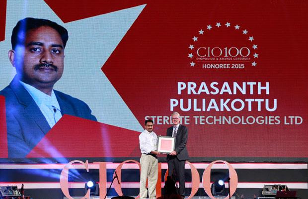 The Versatile 100: Prasanth Puliakottu, CIO of Sterlite Technologies receives the CIO100 Award for 2015
