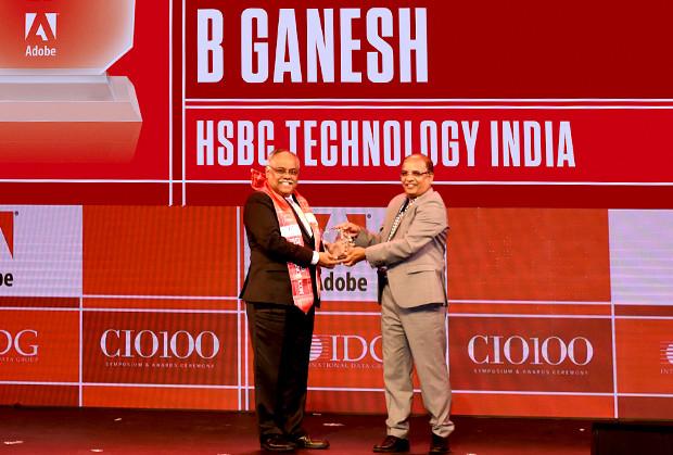 Customer Experience Icon: Balasubramanian Ganesh, Head, HSBC Technology India receives the CIO100 Special Award for 2019 from Narsimha Rao, Sales Director, Adobe