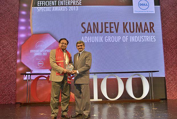 Efficient Enterprise: Sanjeev Kumar, Group CIO and Group President-Business Excell of Adhunik Group of Industries receives the CIO100 Special Award for 2013 from S Sridhar, Director-Enterprise Business Solutions, Dell India