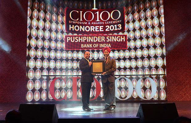 The Astute 100: Pushpinder Singh, GM-IT, Bank of India receives the CIO100 Award for 2013
