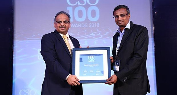 Satish Kumar Dwibhashi, VP(IT) and CISO of WIBMO receives the CSO100 Award for 2018