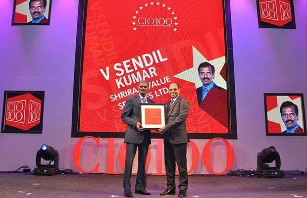 The Transformative 100: V Sendil Kumar, VP-IT of Shriram Value Services receives the CIO100 Award for 2016
