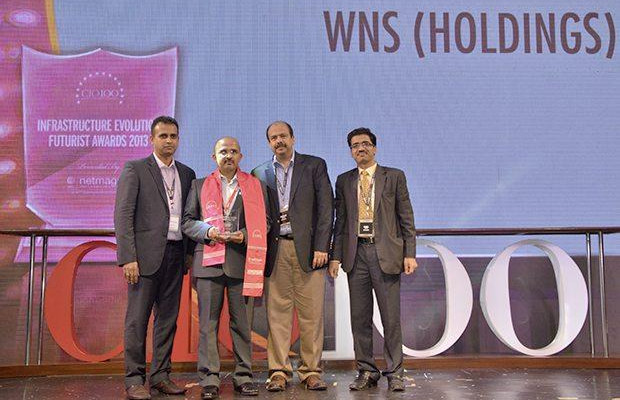 Infrastructure Evolution Futurist: Raghavendra R, Sr. GM IT Leadership of WNS Global Services receives the CIO100 Special Award for 2013 from Sharad Sanghi, MD and CEO, Netmagic and Sunil Gupta, COO, Netmagic