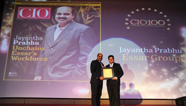 The Creative 100: Jayantha Prabhu, CTO, Essar Group receives the CIO100 Award for 2011.