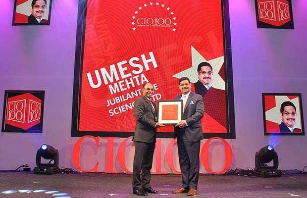 The Transformative 100: Umesh Mehta, CIO-India of Jubilant Life Sciences receives the CIO100 Award for 2016