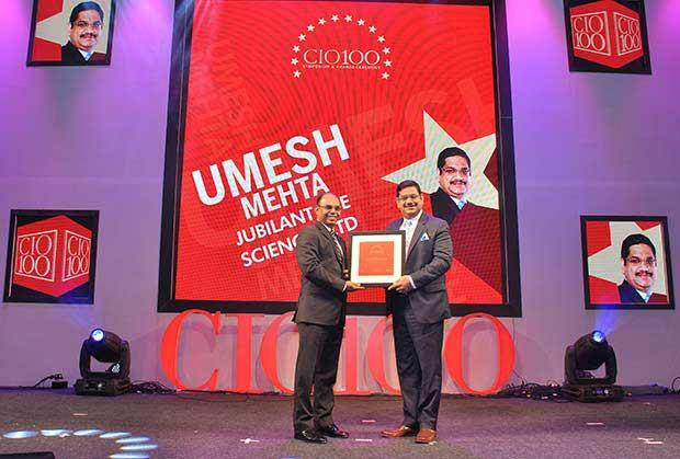 The Transformative 100: Umesh Mehta, CIO-India of Jubilant Life Sciences receives the CIO100 Award for 2016