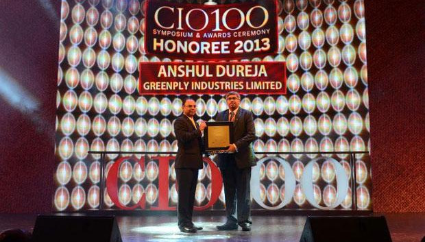 The Astute 100: Anshul Dureja, VP - IT of Greenply Industries receives the CIO100 Award for 2013