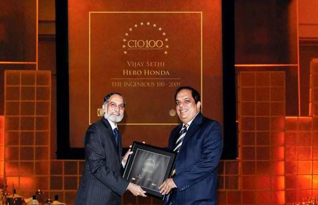 The Ingenious 100: Vijay Sethi, VP & CIO of Hero MotoCorp receives the CIO100 Award for 2009
