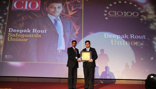 The Creative 100: Deepak Rout, Head - Information Security of Uninor India receives the CIO100 Award for 2011