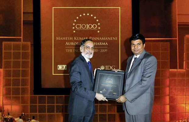 The Ingenious 100: Mahesh Kumar Pinnamaneni, CIO of Aurobindo Pharma receives the CIO100 Award for 2009