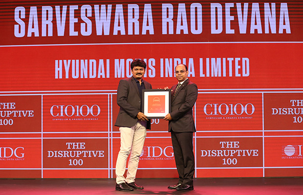 The Disruptive 100: Sarveswara Rao, Head-IT, Hyundai Mobis India receives the CIO100 Award for 2019