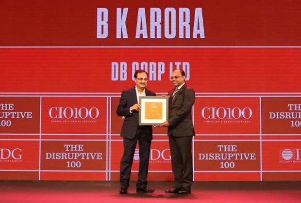 The Disruptive 100: BK Arora, GM-Technology, DB Corp receives the CIO100 Award for 2019