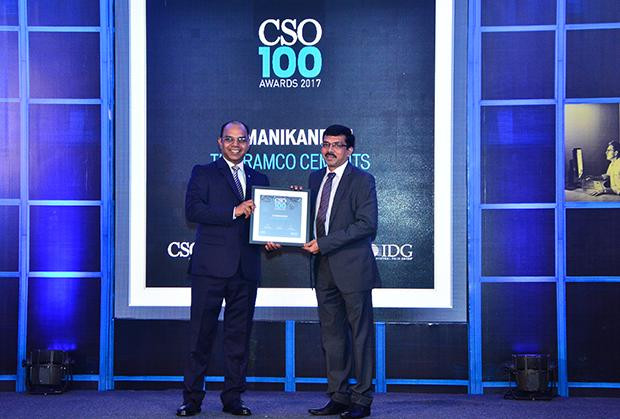 Manikandan K, AGM - IT receives the CSO100 Award for 2017