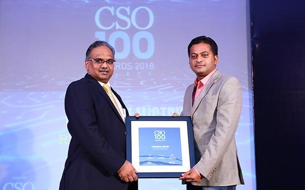 Pragnesh Mistry, Manager Group IT, RPG Enterprises receives the CSO100 Award for 2018