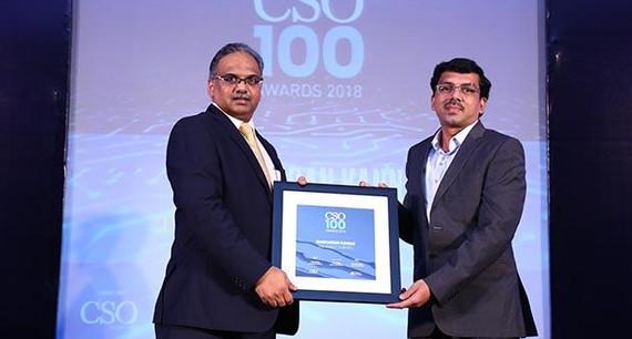 Manikandan K, AGM - IT receives the CSO100 Award for 2018