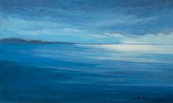 """""""Mar de molts blaus 2"""" 33x55 oli-tela 2020"""