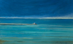 """""""El mar és vert i blau"""" 30x50 oli-fusta"""