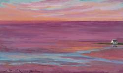 """""""El mar és rosa"""" 30x50 oli-fusta 2020"""