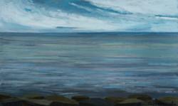 """""""El Mar té color d'argent"""" 30x50 oli-fusta"""