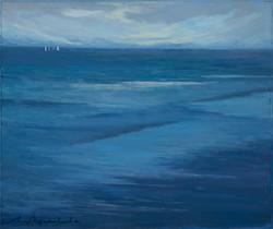 """""""Mar de molts blaus 1"""" 46x55 oli tablex"""