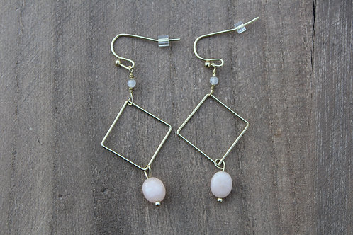 Gold Square Dangle Earrings