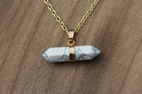 White Marbled Pendent Necklace