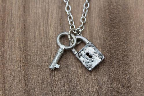 Silver Lock & Key Necklace