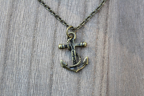 "Bronze""Faith"" Anchor Necklace"