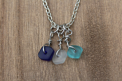 Triple Sea Glass Necklace