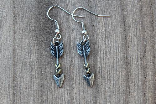 Silver Arrow Twine Earrings